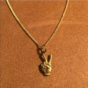 Vintage Peace ☮️✌🏽☮️ hand pendant charm necklace